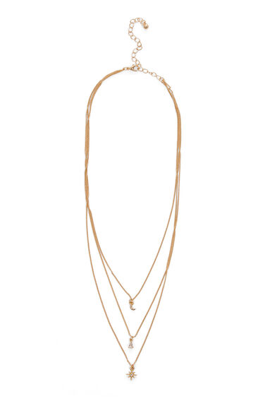 Warehouse, MOON STAR DIAMANTE NECKLACE Gold Colour 0