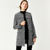Warehouse, MONO TWEED LONG LINE JACKET Black Pattern 3