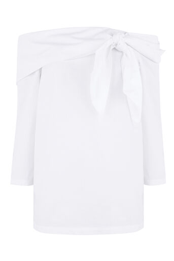 Warehouse, TIE FRONT BARDOT TOP White 0