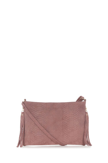 Warehouse, Suede Embossed Croc Cross Body Dark Pink 0