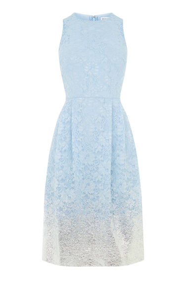 Warehouse, FOIL LACE DRESS Light Blue 0