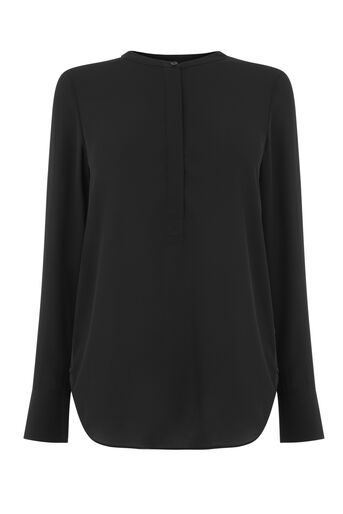 Warehouse, LONG SLEEVE BUTTON SIDE BLOUSE Black 0