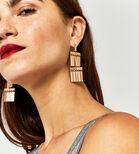 Warehouse, RECTANGLE DROP EARRINGS Gold Colour 1