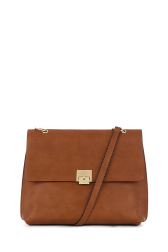 Warehouse, CLASP DETAIL LARGE CROSSBODY Tan 0