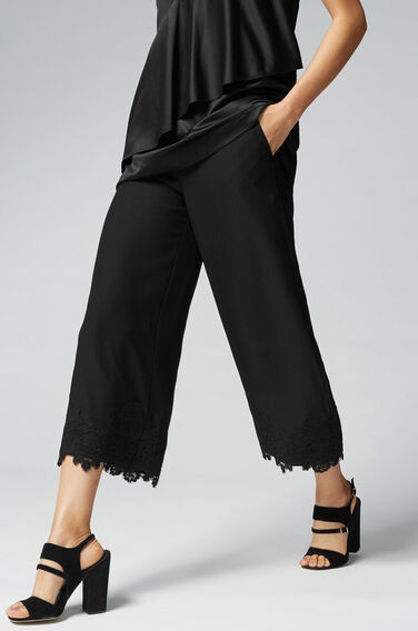Warehouse, Lace Hem Culottes Black 1