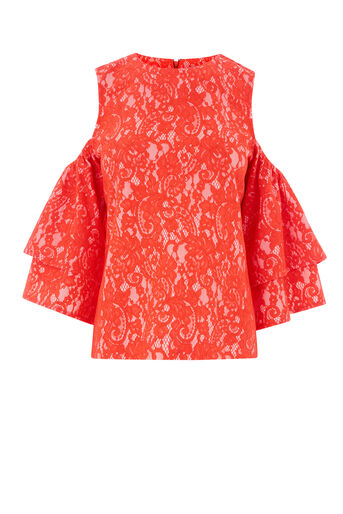 Warehouse, BONDED DOUBLE FRILL TOP Orange 0
