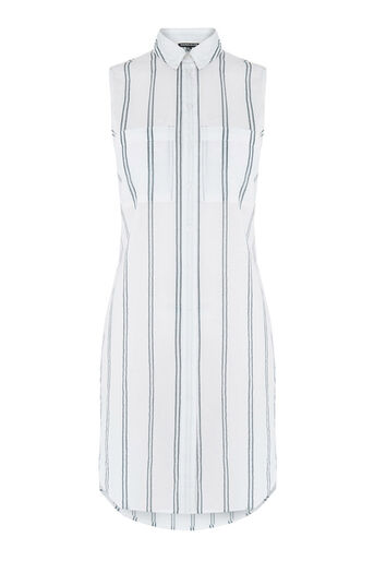Warehouse, Sleeveless Stripe Voile Shirt Neutral Stripe 0
