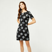 Warehouse, DANDELION PRINT SCALLOP DRESS Black Pattern 2