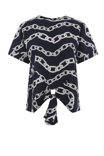 Warehouse, CHAIN PRINT TIE FRONT TOP Blue Pattern 0