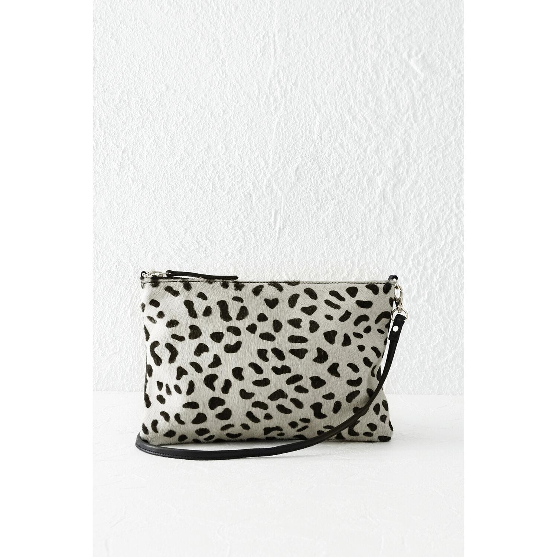 Warehouse, Leather Leopard Print Clutch Black 1