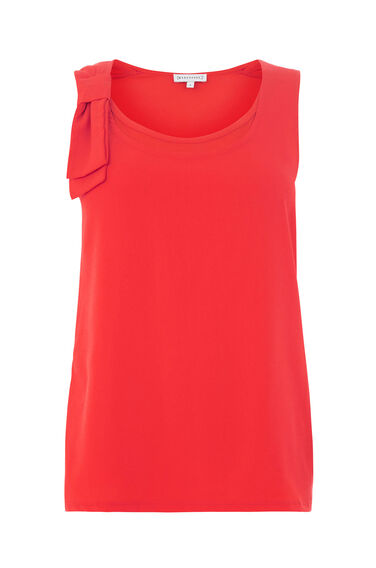 Warehouse, BOW DETAIL WOVEN FRONT TOP Bright Red 0