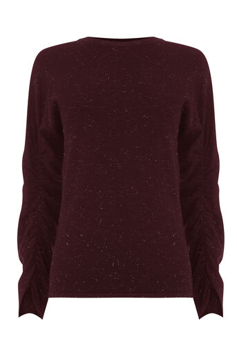 Warehouse, SPARKLE RUCHED SLEEVE JUMPER Berry 0