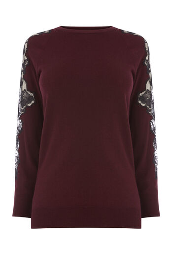 Warehouse, LACE INSERT JUMPER Berry 0