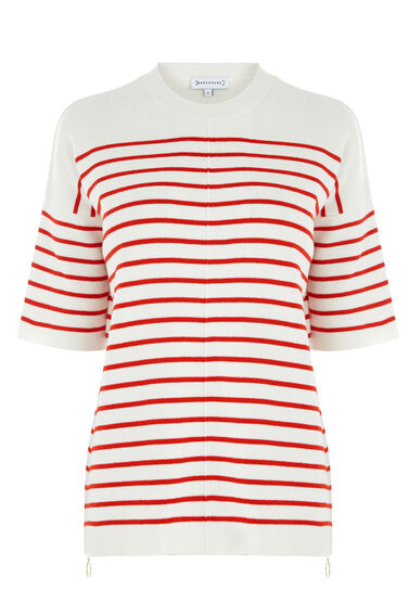 Warehouse, STRIPE ZIP TOP Red Stripe 0