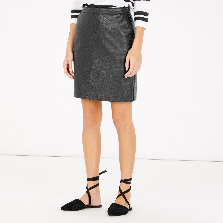 Warehouse, Faux Leather Croc Skirt Black 1