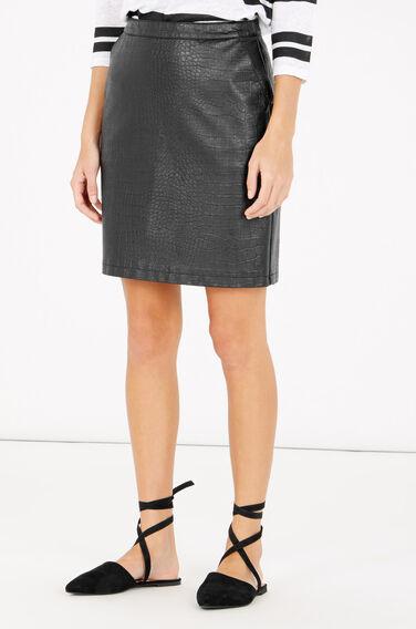 Warehouse, Faux Leather Croc Skirt Black 0