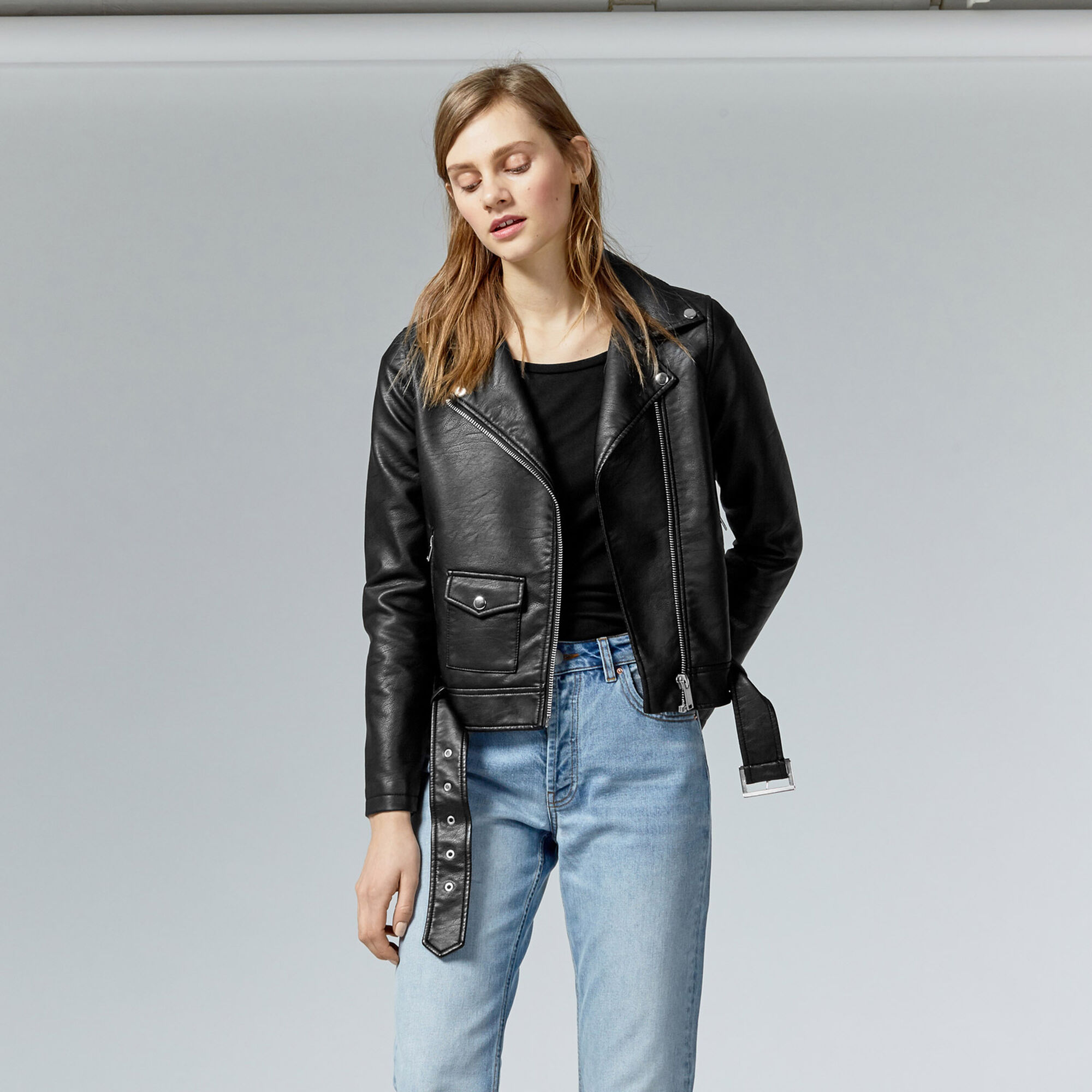 Warehouse, Faux Leather Crop Biker Jacket Black 1