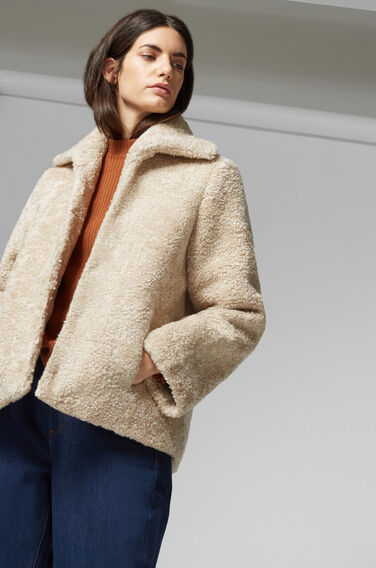 Warehouse, Mock Shearling Coat Cream 1