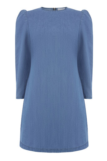 Warehouse, PUFF SLEEVE DRESS Mid Wash Denim 0