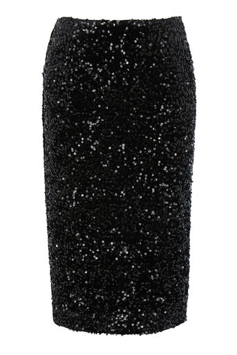 Warehouse, VELVET SEQUIN MIDI SKIRT Black 0