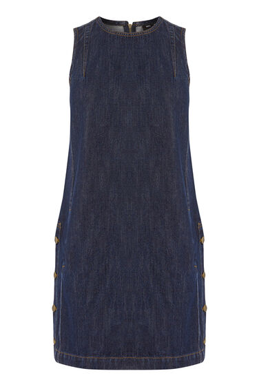 Warehouse, Side Button Denim Dress Dark Wash Denim 0