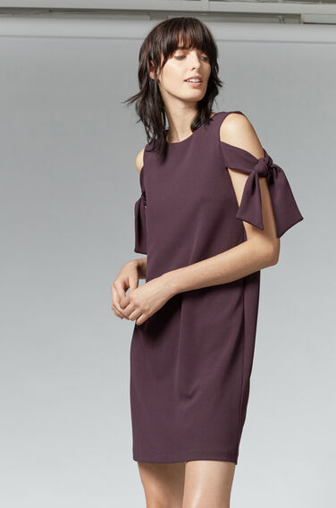 Warehouse, CREPE TIE SHOULDER DRESS Dark Purple 1