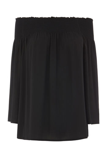 Warehouse, SMOCKED BARDOT TOP Black 0