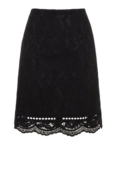 Warehouse, BONDED LACE PELMET SKIRT Black 0
