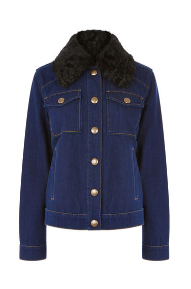 Warehouse, Shearling Collar Denim Jacket Indigo Denim 0