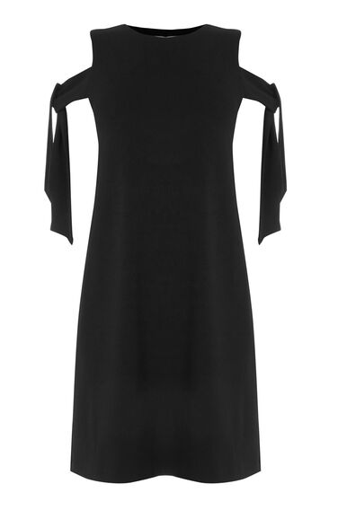 Warehouse, CREPE TIE SHOULDER DRESS Black 0