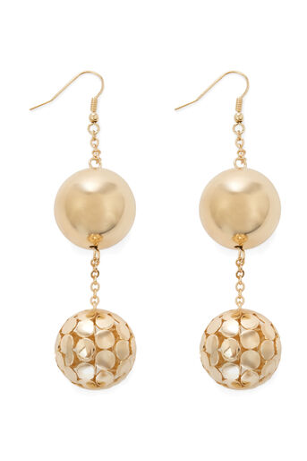 Warehouse, Double Orb Drop Earring Gold Colour 0