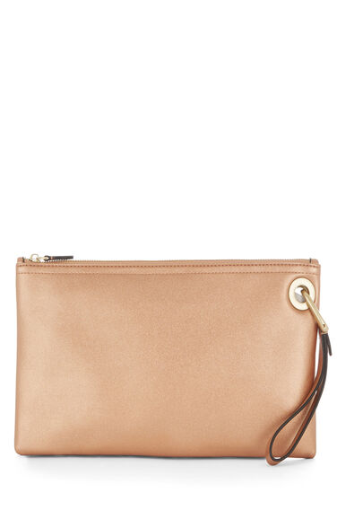 Warehouse, EYELET DETAIL CLUTCH BAG Copper Colour 0