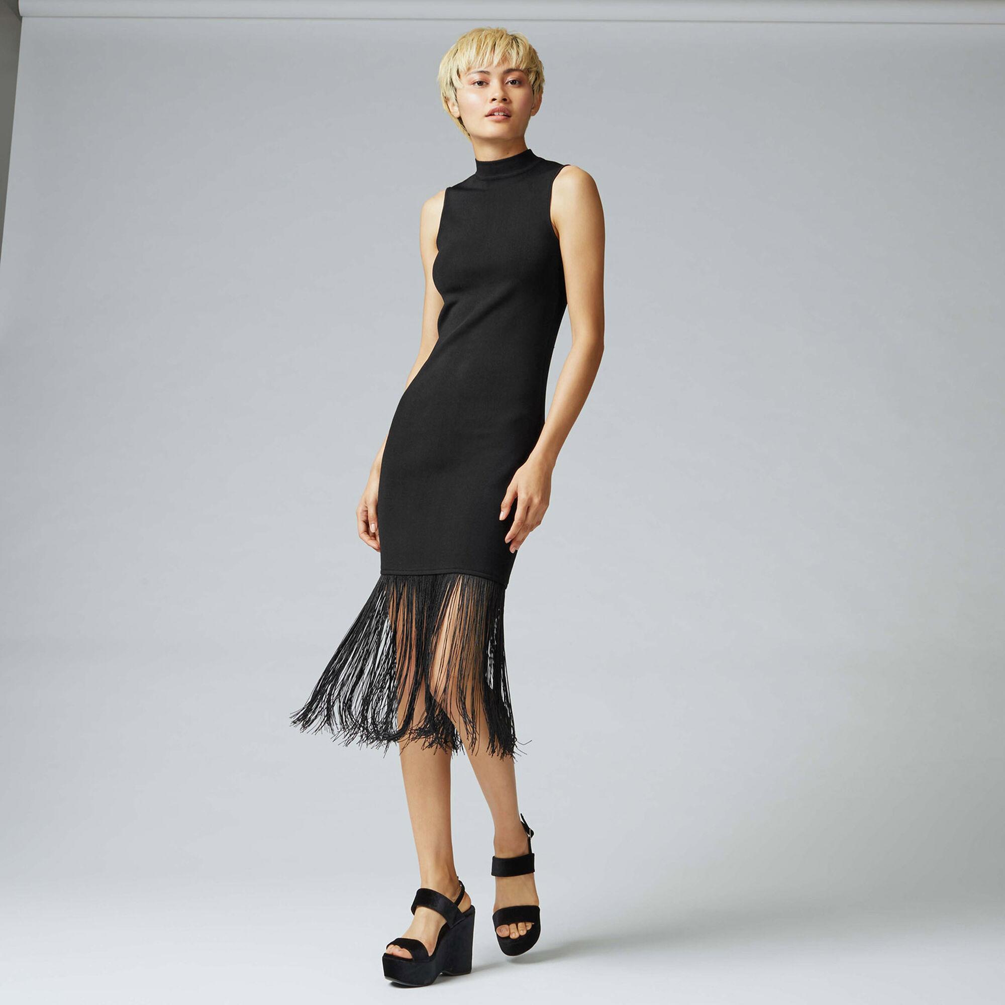 Warehouse, FRINGE HEM KNIT DRESS Black 1