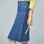 Warehouse, Flared Denim Midi Skirt Mid Wash Denim 4