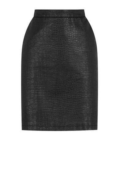 Warehouse, Faux Leather Croc Skirt Black 0