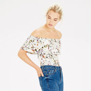 Warehouse, TRAILING FLORAL BARDOT TOP Multi 1