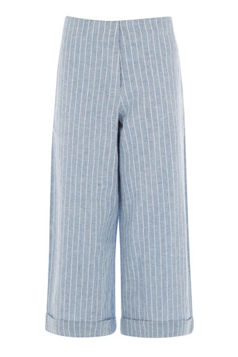 Warehouse, LINEN MIX STRIPE CULOTTES Blue Stripe 0
