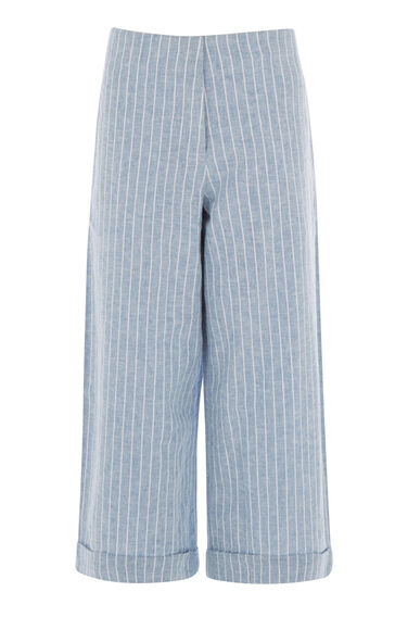 Warehouse, LINEN MIX STRIPE CULOTTE Blue Stripe 0