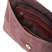 Warehouse, Suede Leather Crossbody Bag Berry 3