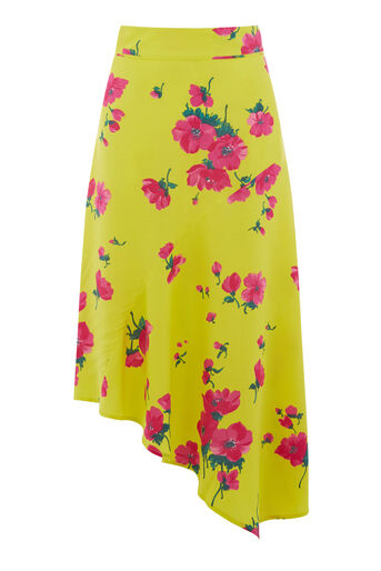 Warehouse, DELIA FLORAL MIDI SKIRT Yellow 0