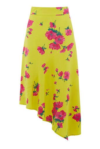 Warehouse, Jupe mi-longue à imprimé floral Delia Jaune 0