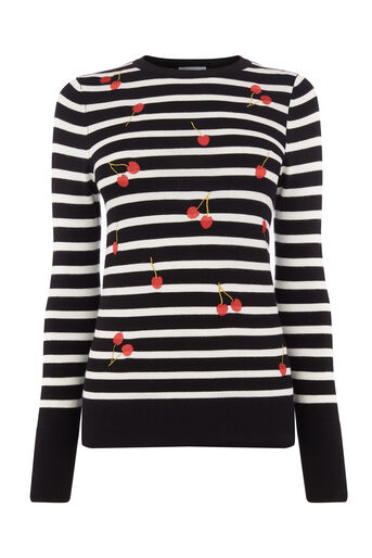 Warehouse, CHERRY STRIPE JUMPER Black 0