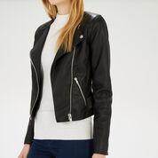 Warehouse, Collarless Faux Leather Biker Black 4