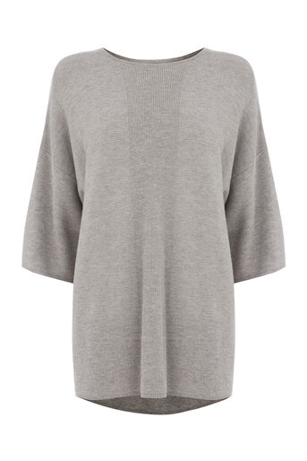Warehouse, RIB PANEL BOXY TEE Light Grey 0