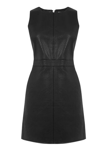 Warehouse, Faux Leather Shift Dress Black 0