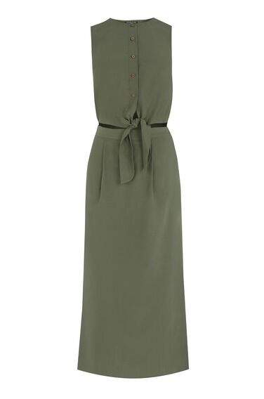 Warehouse, Tie Front Midi Dress Khaki 0