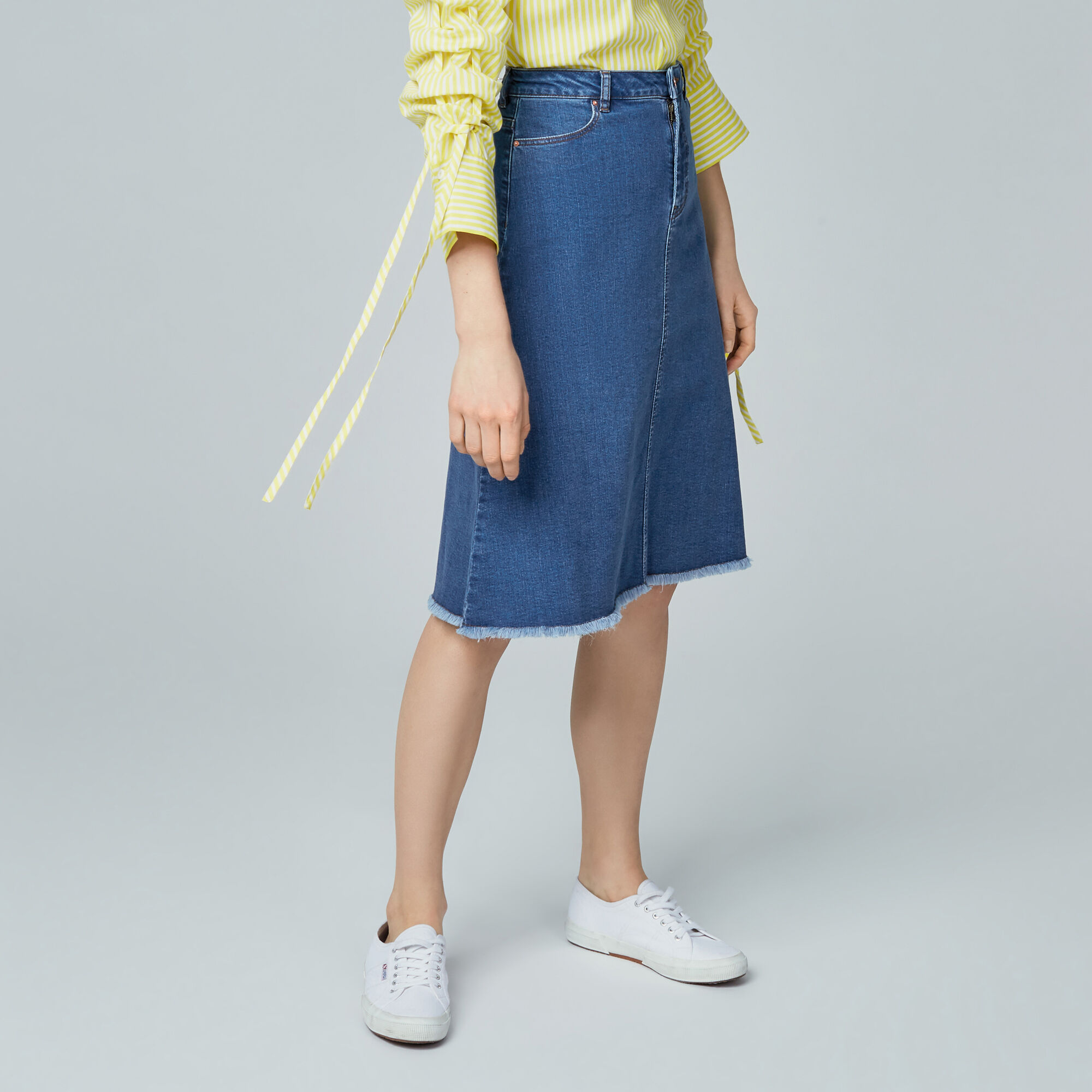 Warehouse, Flared Denim Midi Skirt Mid Wash Denim 1