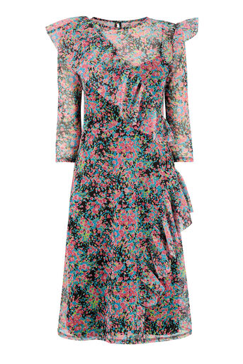 Warehouse, FLOWER BURST MESH RUFFLE DRESS Multi 0