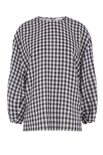 Warehouse, GINGHAM BALLOON SLEEVE TOP Black Pattern 0