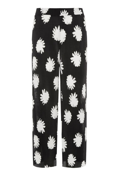 Warehouse, FLOWER STAMP PLISSE CULOTTE Black Pattern 0
